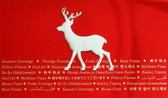 Rote internationale weihnachtskarte mit wei em elch for Weihnachtskarte englisch